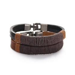 Simple Joker 펑크 Bracelet Men Stainless 강 한 수 제 Leather Bracelet