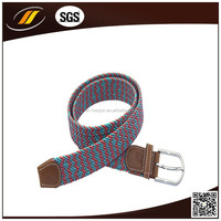 China multi-color fabric braided double face elastic strench belt with Brown Leather