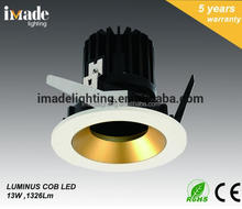 Hot commercial indoor 13W 1230LM LED Recessed Down light Luminus COB ceiling light