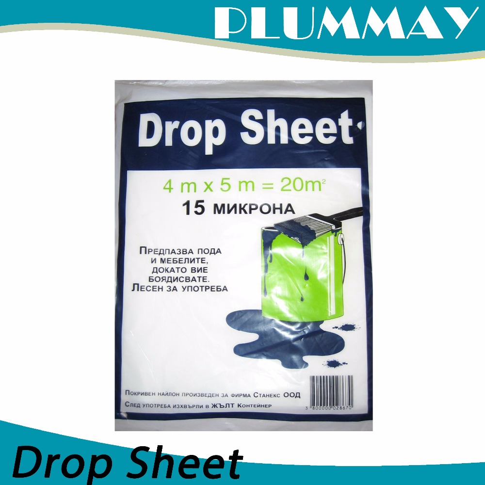 Plastic drop sheet for floor covering and for bed cover
