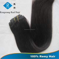 Discount cheap 100% human remy black double drawn hair clip extension