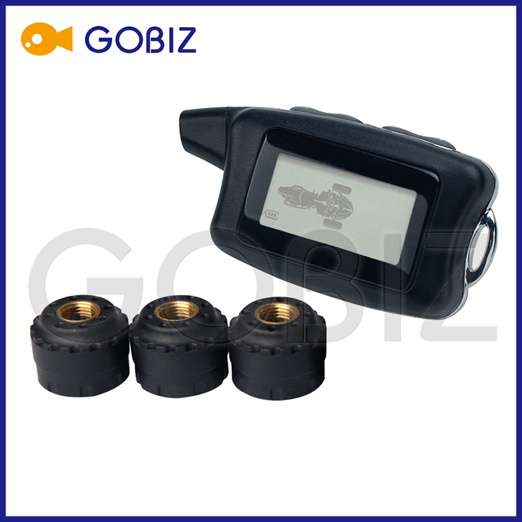 Wireless Tire Pressure and Temperature Monitoring System for 3-wheels Motorcycle with External Sensors