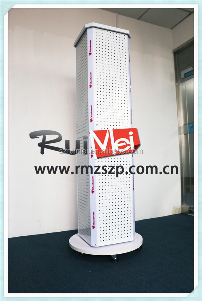 Customized Flooring Slatwall Wheels Metal Spinner Floor Display Stands