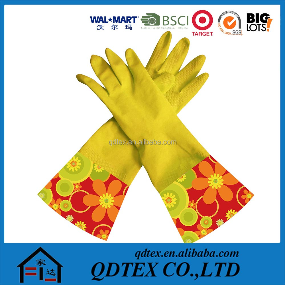 High quality long latex coated work gloves with design