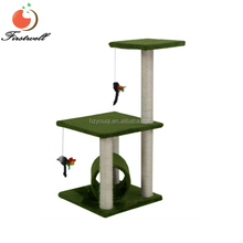 Cat Tree House w/Scartching Post Tower, Hammock Bed and Pet Toy Ball , Multi 2 Level