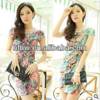 2013 new printed retro ice silk fashion ladies dress in summer