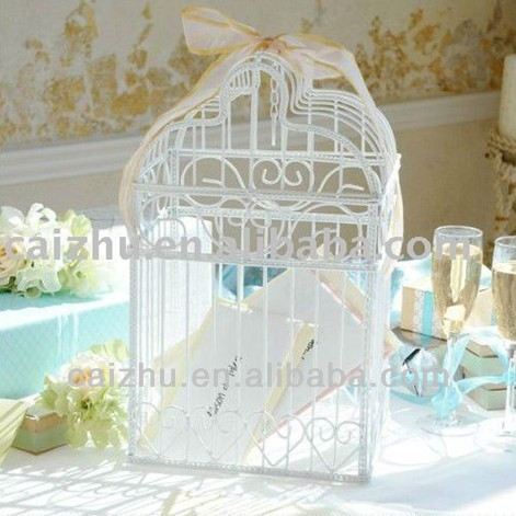 China alibaba bird cage wedding card favor invitation card box