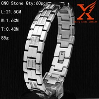 316L Stainless Steel Luxury CNC Zirconia Chain Bracelet Men Silver Bling