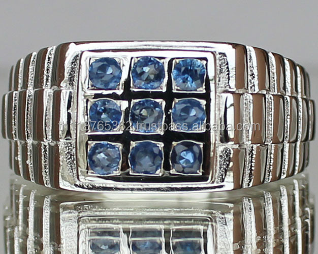 Certified 925 Sterling Silver Jewelry Wholesale 0.75 cts Natural Blue Sapphire men engagement and fashion Ring Thailand