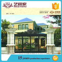 Modern house aluminum mian gate designs, powder coated outdoor metal gate designs photos/boundary wall gates