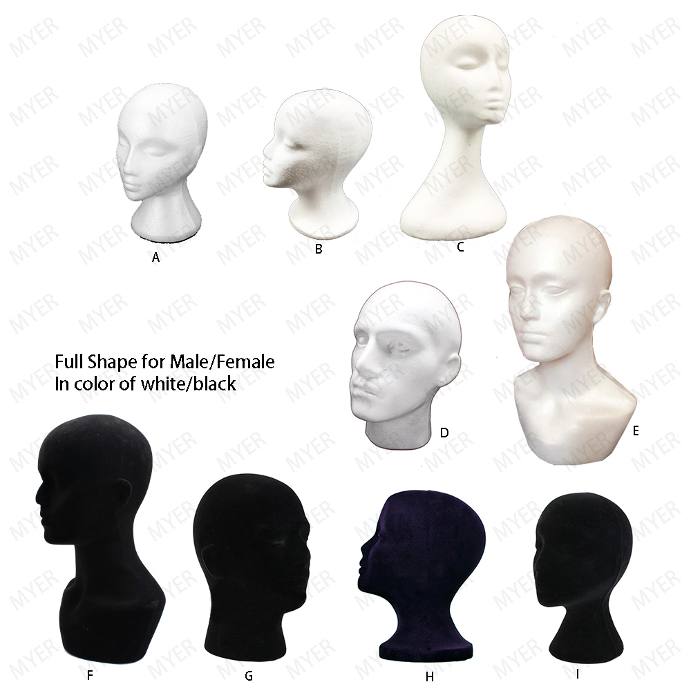 Styrofoam Wig Head Foam Mannequin Female Head Model Wig Glasses Hat Display Stand