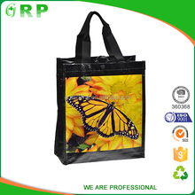 Recycled custom printing grocery pp woven black shopping bags