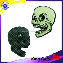 Custom metal dyed black skeleton skull shaped lapel pin