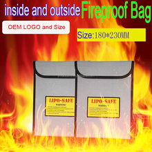 RC lipo battery fireproof safety bag double side fireproof document pouch