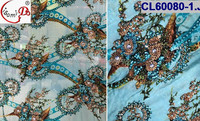 CL60080 fashion new flower high quality heavy silk fabric with handmade beads making dress beads hot selling beaded silk lace