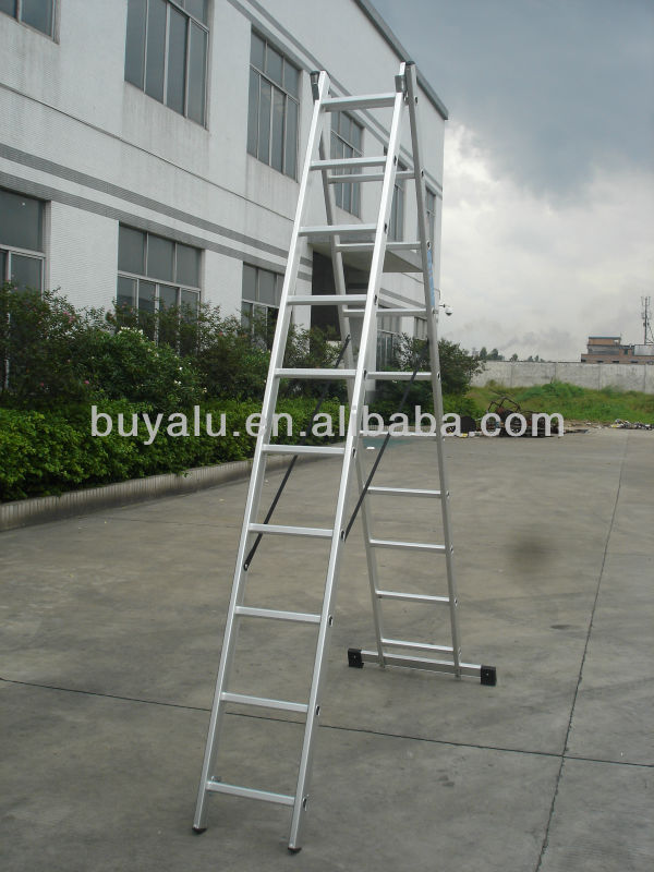 2 Sections Aluminum Extendable Ladder with Dual Purpose