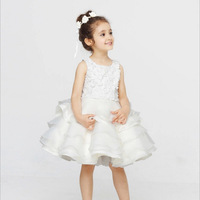 2016 New High Quality Cotton And Lace White O-neck Princess Dress Birthday Dress For Baby Girl L-56