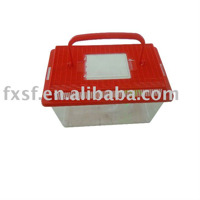 Plastic Square Red Fish Tanks Pet Keeper for Aquarium Fish