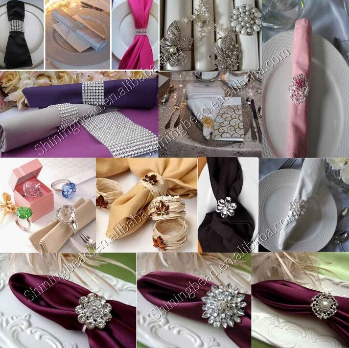 manufacture rhinestone gold napkin ring for weddings decoration
