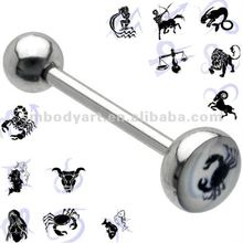 Horoscope Logo Tongue Rings 316L Surgical Stainless Steel Barbell Piercing Body Jewelry-SMTR094-I