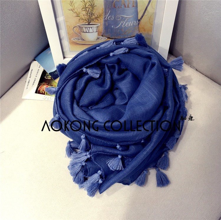 Solid plain bamboo cotton tassel scarf