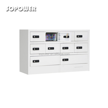 Electric cell phone charging locker for charging station with safe lock and storage box