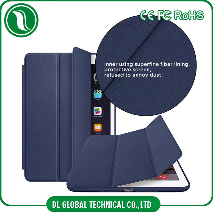 Shenzhen factory integrated pu leather tablet pc case three folds kickstand ultra thin tablet pc case for ipad mini 2