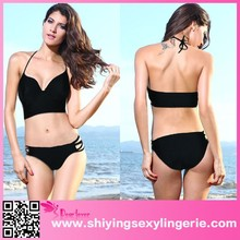 China Wholesale Summer Beach Strappy Long Line Black Bikini india sexi women