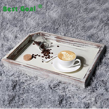 Rustic Light Torched Wood Breakfast Serving Tray