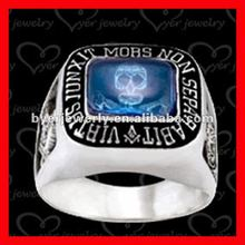 good-looking styles masonic skull rings with big blue cz stone