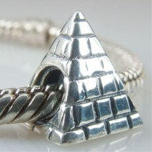 Cute Retro 925 Sterling Silver Bracelet Beads Egypt Style Stereoscopic Pyramid Silver Beads Fit European Snake Bracelets