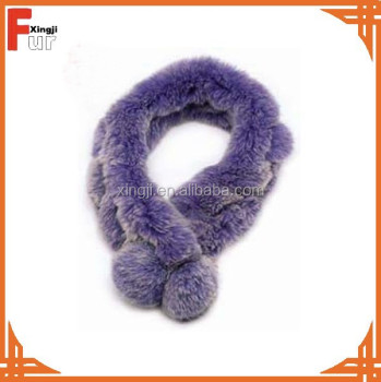 knitted rex rabbit fur dyed purpel color fur scarf