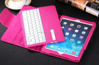 Pink flip leather tablet case with bluetooth keyboard for Ipad