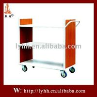Fashionable design and movable red metal book car