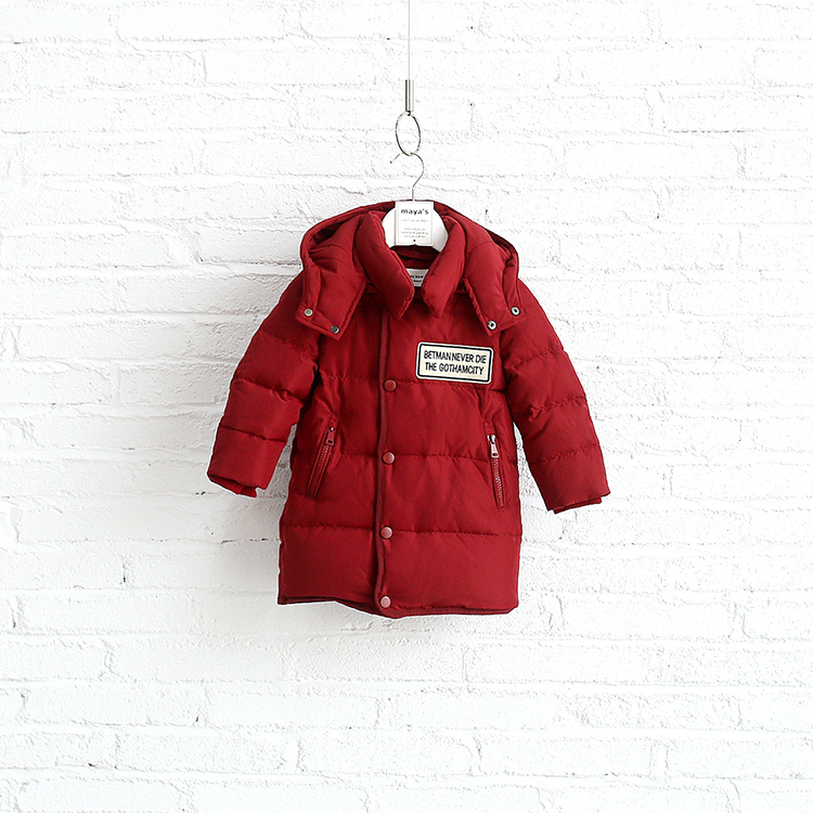 China festive boy baby eiderdowns jacket hooded thicken red fashionable kid garment