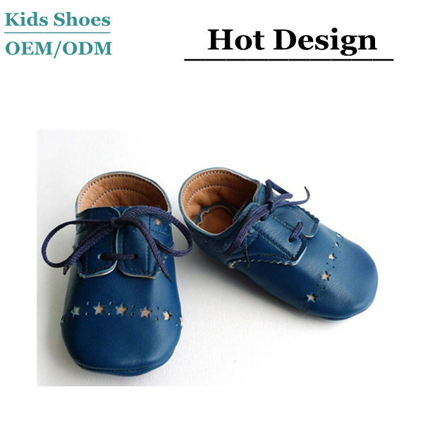 Blue brogued dress crib shoes Leather Baby Boy Shoes