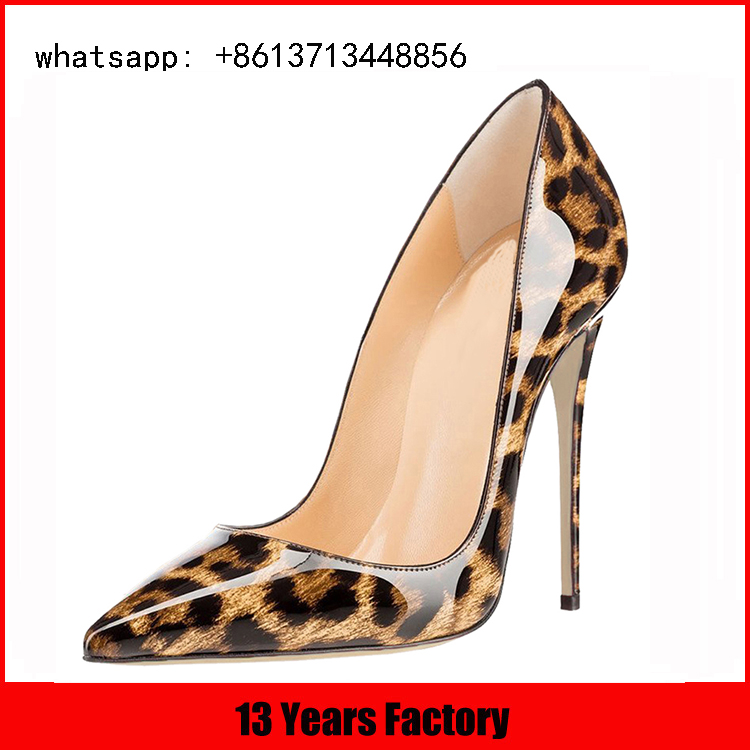 fashion show model 11cm very high heel sexy ladies leopard shoes