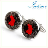 Luxurious Red Crystal Cufflinks Ruby Cuff links