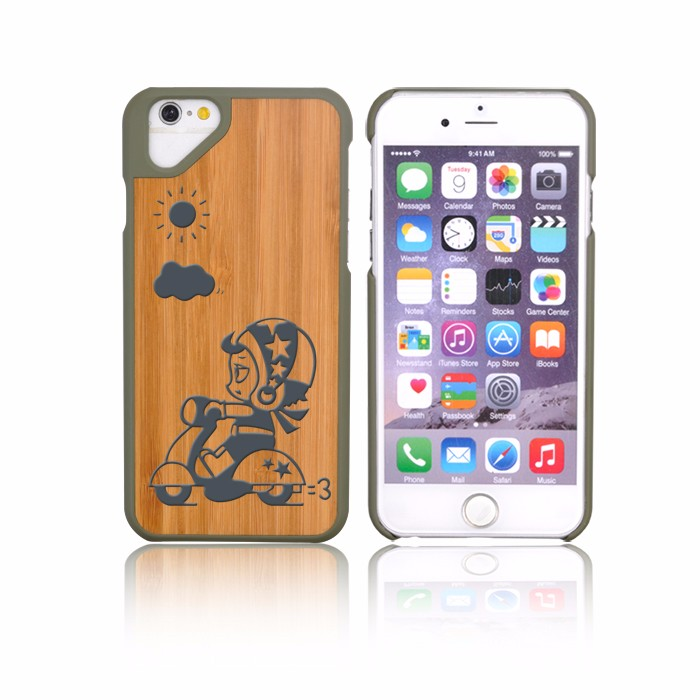 Low MOQ Walnut Bamboo TPU Phone Case For Iphone6