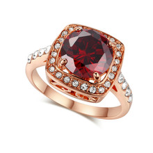 Large Red Zircon Stone Ring Engraved Flower Pack Rose Gold Plated Ring For Lady