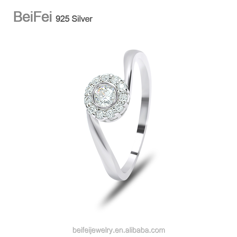 Wedding Diamond 925 Sterling silver ring wholesale 925 ring