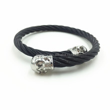 Wholesale Adjustable Bangle Fashion 316L Stainless Steel Skull Cable Bracelet