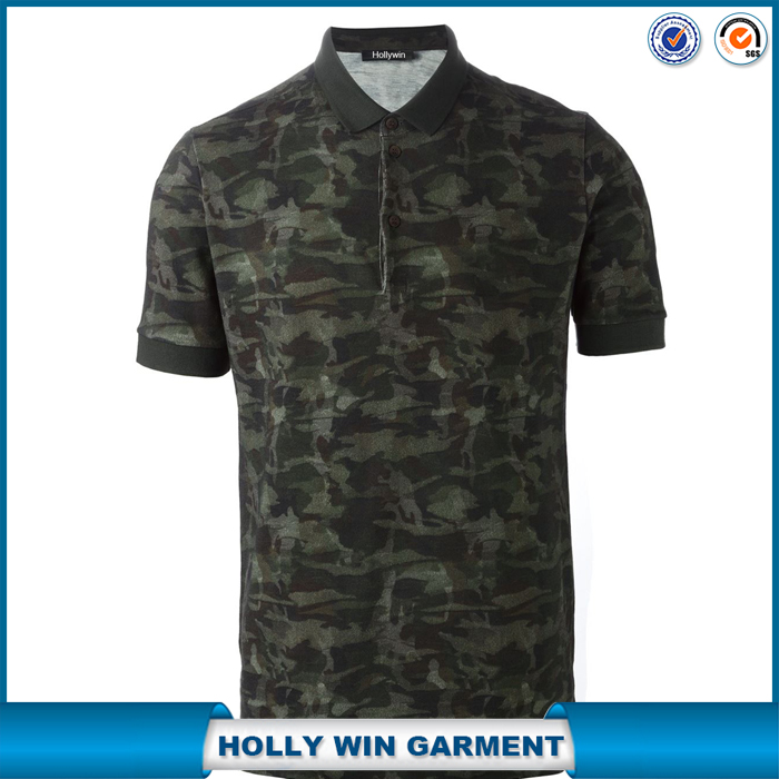 Tonal green pima cotton camouflage print polo shirt design