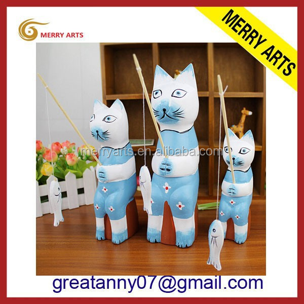 Jinhua China hot new products hand carved wooden cat statues wholesale
