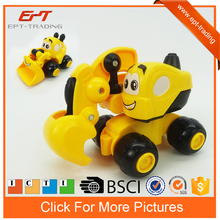 Plastic pull back toy car cartoon truck for kids