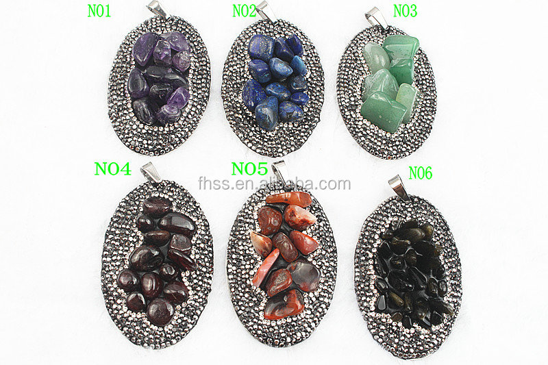natural gemstones pendant,drop amethyst,pave crystal natural gemstones for jewelry FXD1815