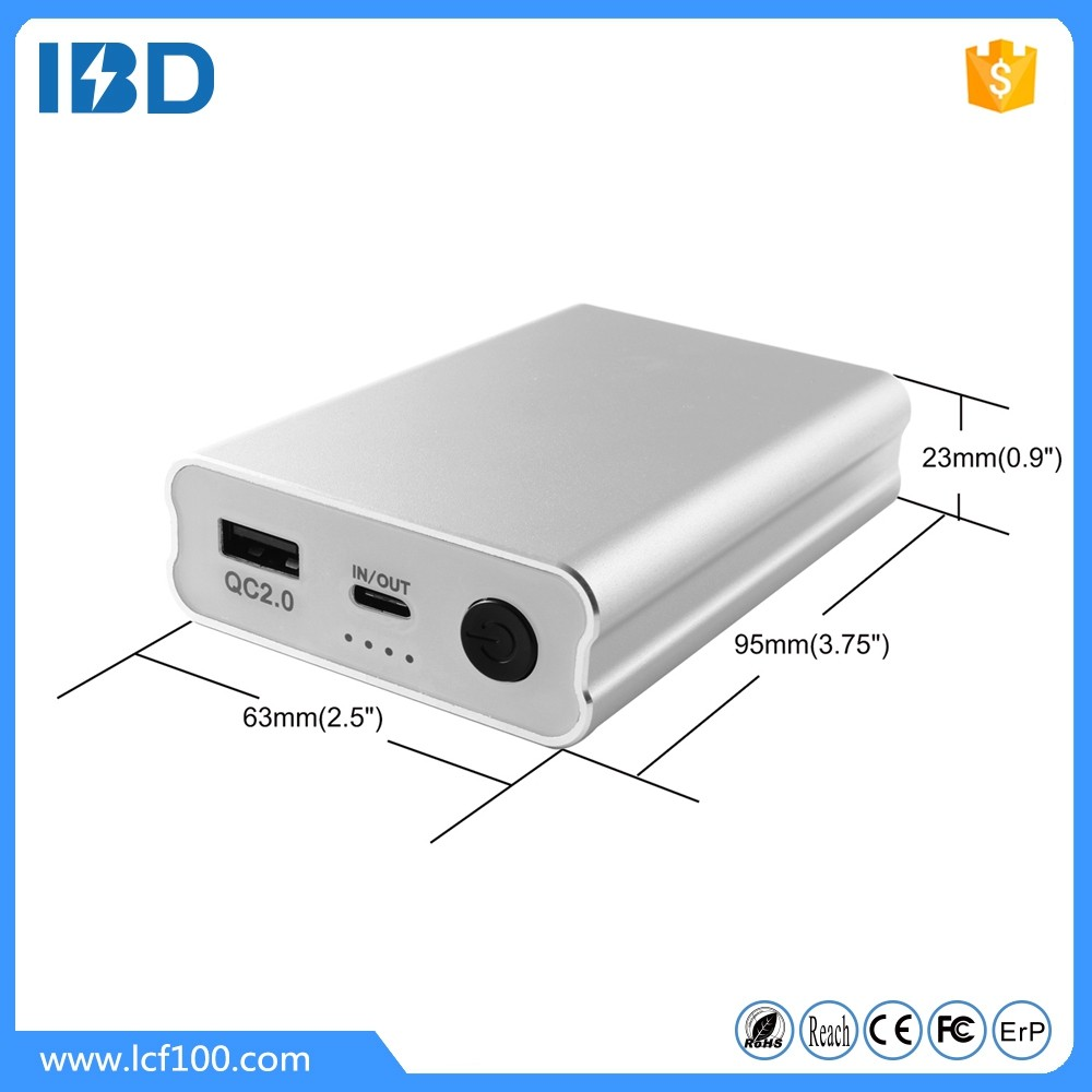 2016 high speed IBD USB Type C3.0 power bank ,10000Mah promotion with quick charge 2.0 two- sided charging connector