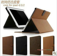Luxury Retro Book kick Stand Leather Case Cover for Apple iPad 4 3 2,100pcs/lot