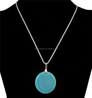 Large round turquoise stone pendant necklace