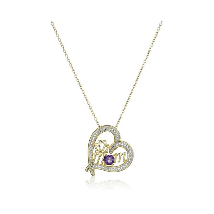 14K yellow gold heart Mom Pendant necklace Crown Engraved silver neckalce